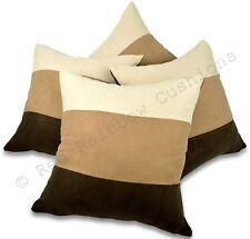 "Set of 4 Brown Latte & Cream 18"" / 45 Cm Soft Faux Suede Cushion Covers Stripe"