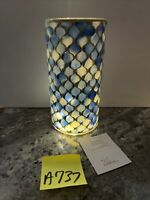 "Quatrefoil Mosaic Hurricane Lighted 10"" Valerie Parr Hill ocean blue"