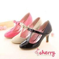 Sweet Womens Lolita T Strap Mary janes Round Toe Pumps Bowknot Shoes Mid Heels