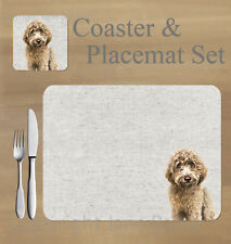 Labradoodle,  placemat and coaster set    by Jane Bannon