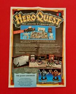 HeroQuest Space Crusade Original Advert Leaflet 1990 Double Sided A4 Poster (C)