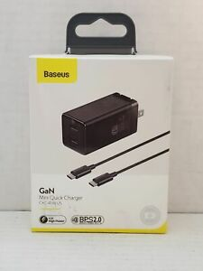Baseus GaN 45W USB Dual Type-C Wall Quick/Fast Charger Laptop Phone - Black