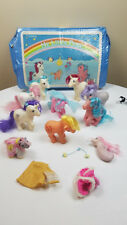 Lot of 10 My Little Pony Figures, 1 Carry Case, 3 Outfits - well loved