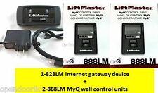 828LM Internet Gateway + (2x) 888LM MyQ Control Panel - LiftMaster Combo Pack