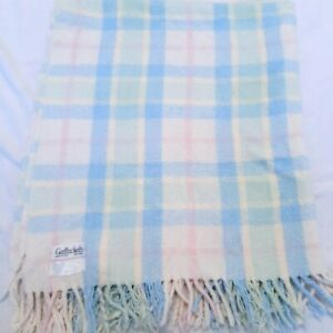 Vintage Garfinckel's baby blanket Italy pastel plaid fringe pink blue acrylic