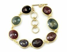 Natural Raw Sapphire Bracelet Bezel Multi Color 8 9 Inch Adjustable 14k Gold F