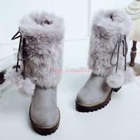 Winter Snow Boot Leather Women Girl Warm Fur POMPOM Block High Heels Shoes SZ