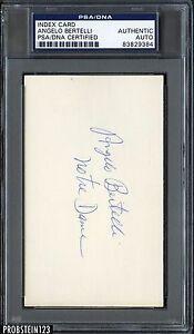 Index Card Angelo Bertelli Signed AUTO PSA/DNA AUTHENTIC