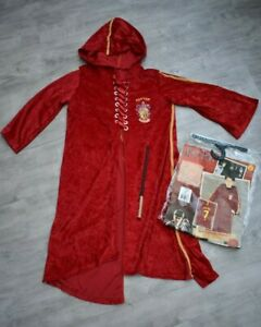 BOYS AGE 8 9 10 YEARS HARRY POTTER QUIDDITCH ROBE HALLOWEEN FANCY DRESS + WAND