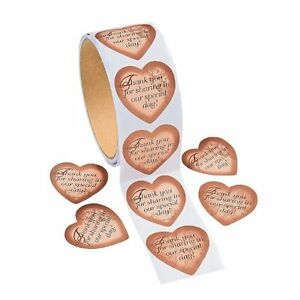GOLD HEART WEDDING THANK YOU CARD SEAL LABEL FAVOR TAG BAG STICKERS(100/ROLL)