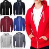 New Plain Men's American Fleece Zip Up Hoody Sweatshirt Hooded Zipper Top S-5XL
