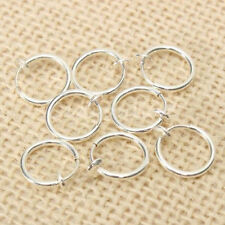 8 PCS Punk Goth Fake Stud Earrings Clip On Piercing Body Nose Lip Rings Hoop Ear