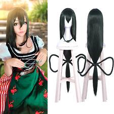 My Hero Academia Asui Tsuyu Cosplay Wig Long Straight Dark Green Hair Bow 100cm