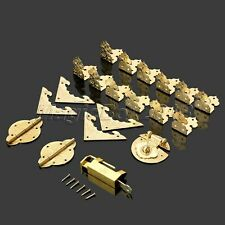 Vintage Brass Jewelry Box Corner Protectors Lock Latch Hasp Hinges Hardware Kit