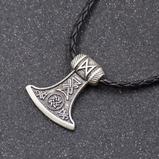 Man Viking Thor Hammer Pendant Norse Vintage Pattern Metal Chain Necklace 1 Pc