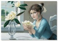 Pretty Little Girl and Orchid in Vase Interior Flower NEW Modern Postcard