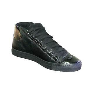 sneakers alta pelle e vernice nero uomo man fondo ultraleggero