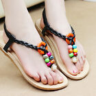 New Ladies Women Summer Bohemia T-strap Flip Flops Flat Sandal Beach Thong Shoes