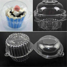 5/10x Single Cupcake Cases Transparent Cake Muffin Holder Box Cups Pods Party