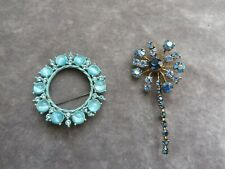 1 circular blue 1 sparkler style 2 stunning Art Deco beautiful sparkly brooches