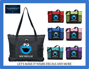 COOKIE MONSTER PERSONALIZED NAME TOTE PURSE TRAVEL SPORTS GYM SCHOOL BAG ZIPS