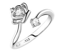 Ring größenverstellbar 925 Silber Oder Bicolour  Krone Strass Edel-Stein elegant