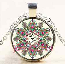Om Pendant , Lotus Flower Necklace , Namaste Yoga Jewelry , Tibetan silver #3999
