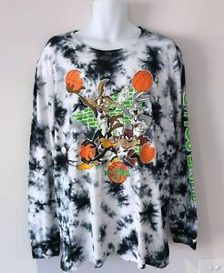Mens Long Sleeve SPACE JAM Tie Dye Graphic Tshirt / Size Large / Cotton