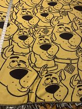 vintage Scooby Doo Blanket Throw Couch Yellow Blue 80s 90s Woven 48� X 48�