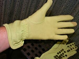 1930s GLOVES GREEN RAYON SEQUINED GLOVES DAY WEAR 1930S VINTAGE CLOTHING SZ 6