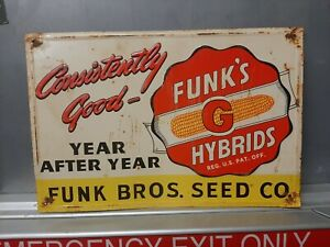 Funks G Hybrid Seed Corn Embossed Metal Sign Farm Feed Cow Pig Horse Cattle hen