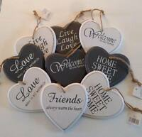 Wooden Hanging Heart Shabby Vintage Chic Door Wall Plaque Inspirational XmasGIFT