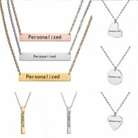 Personalized Stainless Steel Name Bar Pendant Necklace Custom Chain Jewelry Gift