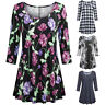 New Women Ladies Casual Floral Print Shirts 3/4 Sleeves Loose Tunic Blouse Tops