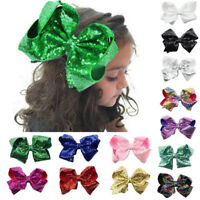 8 inch Big Large Sequin Bow Hair Alligator Clips Ribbon Kids Sides Accessories