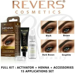HENNA EYEBROW EYELASH TINT Long Lasting Full Kit Dye Cream Brown Black Graphite