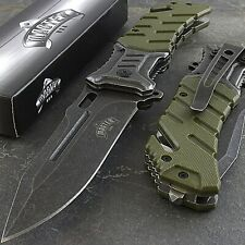 "8"" Stonewashed Spring Assisted Folding Pocket Knife Edc Army Military Green"
