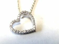 White Topaz Open Heart Pendant on Sterling Silver Necklace