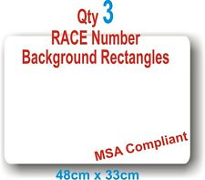 Qty 3 White Rectangles. MSA Compliant  Motorsport Vinyl Stickers FLAT RATE P&P