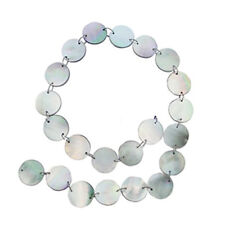 """BLACK MOTHER OF PEARL 16MM FLAT ROUND BEADS 16"""" ST  mop"""