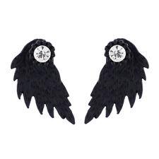 Gothic Punk Women's Earrings Angel Wings Rhinestone Crystal Ear Stud Jewelry New