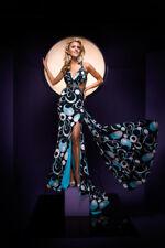 Tony Bowls 110700 Black Multi Jersey Print Gala Gown Dress sz 6 NWT