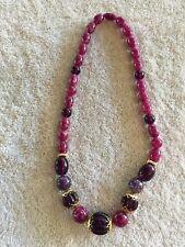 Purple Faux Necklace Gold Trim