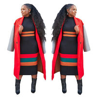 Women Fashion Long Sleeve Stripe Patchwork Bodycon Sweater Casual Clubwear Dress