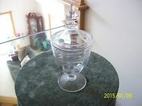 Crystal Etched Vintage Depression Covered Compote Footed Tall Candy Dish