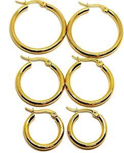 Gold Filled Hoop Hinged Hoops Sleeper Earrings 3mm Thick Steel 20mm 25mm 30mm