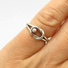 925 Sterling Silver Real Diamond Knot Design Pinky Ring Size 3 3/4