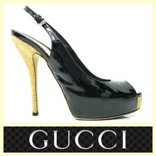 Gucci $795 Sofia black patent leather straw-heel peep-toe slingback pumps~6.5/7