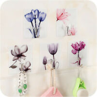 2X Flower Adhesive Hanger Hooks Adhesive Stickers Wall Door Towel Holder Kitchen