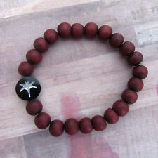 Dragonfly Beaded Stretch Bracelet with Red Wood Beads